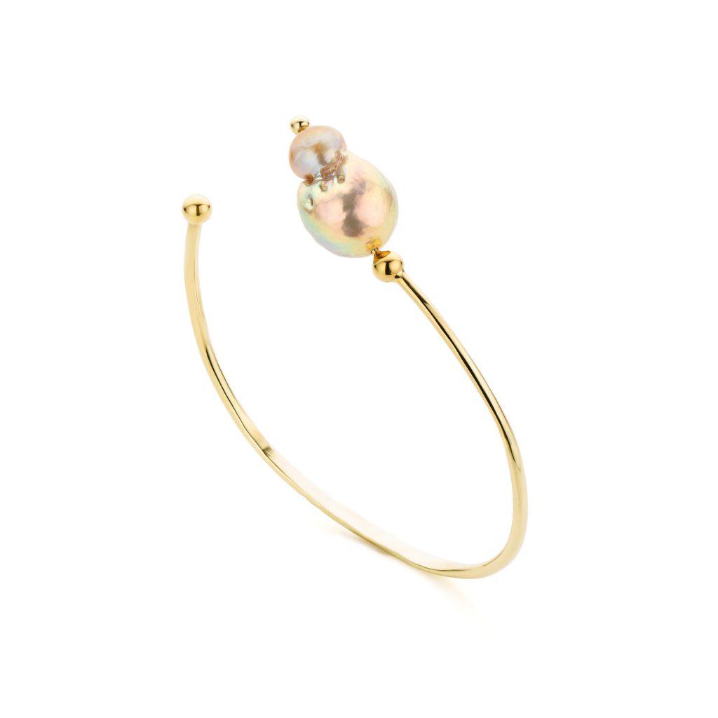 Gouden armband met barok parel
